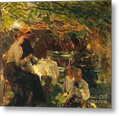 Tea In The Garden, Metal Print by Walter Frederick Osborne