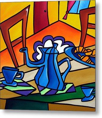 Tea Time - Abstract Pop Art By Fidostudio Metal Print by Tom Fedro - Fidostudio