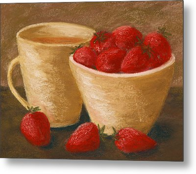Tea With Strawberries Metal Print by Cheryl Albert
