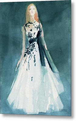 Teal And White Evening Dress Metal Print by Beverly Brown Prints