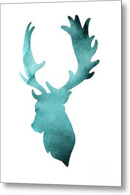 Teal Deer Watercolor Painting Metal Print by Joanna Szmerdt