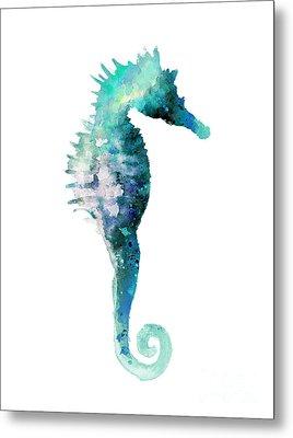 Teal Seahorse Nursery Art Print Metal Print by Joanna Szmerdt