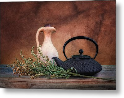 Teapot With Pitcher Still Life Metal Print by Tom Mc Nemar