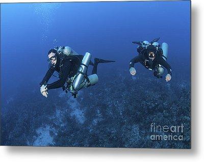 Technical Divers With Equipment Metal Print by Karen Doody