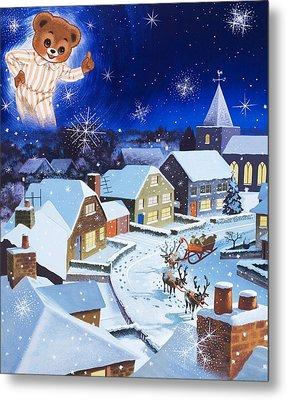 Teddy Bear Christmas Card Metal Print by English School