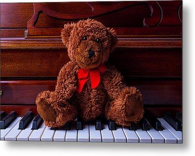 Teddy Bear On Piano Keys Metal Print by Garry Gay
