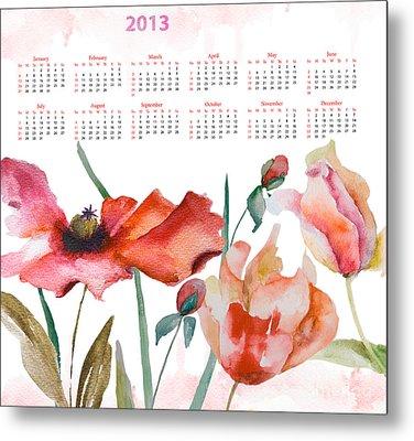 Template For Calendar 2013 Metal Print by Regina Jershova