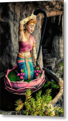 Temple Lady Statue Metal Print by Adrian Evans