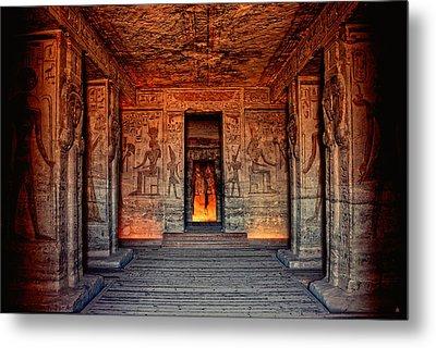Temple Of Hathor And Nefertari Abu Simbel Metal Print by Nigel Fletcher-Jones