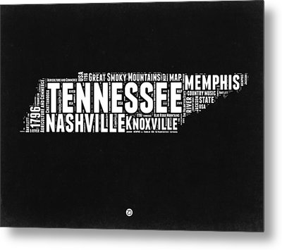 Tennessee Black And White Word Cloud  Map Metal Print by Naxart Studio