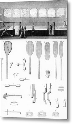 Tennis Court And Rackets Metal Print by French School