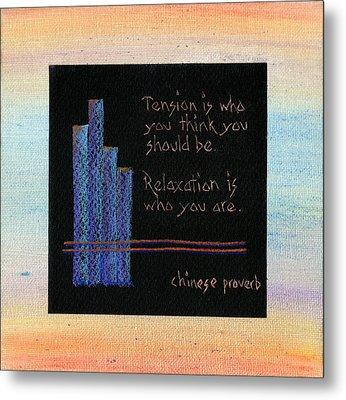 Tension Is...in Orange And Blue Metal Print by Audi Swope