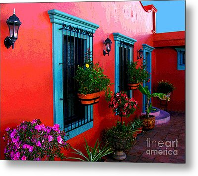 Terrace Windows At Casa De Leyendas By Darian Day Metal Print by Mexicolors Art Photography