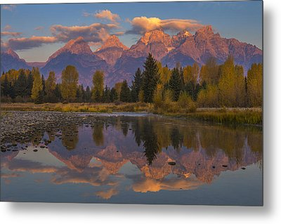 Teton Morning Mirror Metal Print by Joseph Rossbach