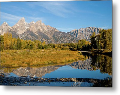 Teton Reflections Metal Print by Steve Stuller