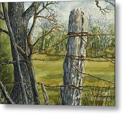 Texas Fence Post Metal Print by Don Bosley