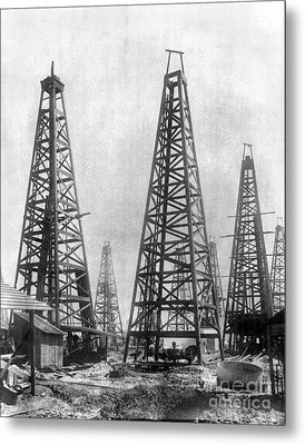 Texas: Oil Derricks, C1901 Metal Print by Granger