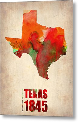 Texas Watercolor Map Metal Print by Naxart Studio