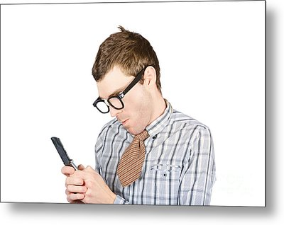 Text Messaging Nerd Metal Print by Jorgo Photography - Wall Art Gallery