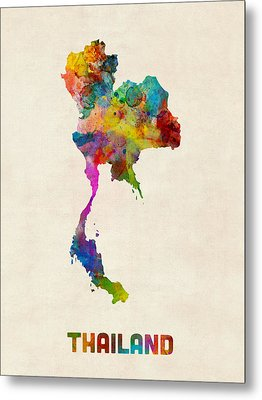Thailand Watercolor Map Metal Print by Michael Tompsett