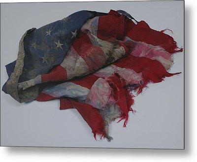 The 9 11 W T C Fallen Heros American Flag Metal Print by Rob Hans