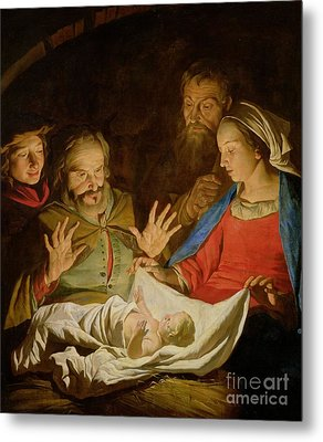 The Adoration Of The Shepherds Metal Print by Matthias Stomer