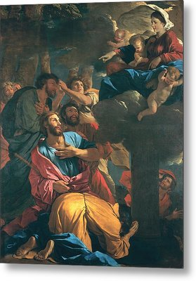 The Apparition Of The Virgin The St James The Great Metal Print by Nicolas Poussin