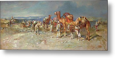 The Arab Caravan   Metal Print by Italian School