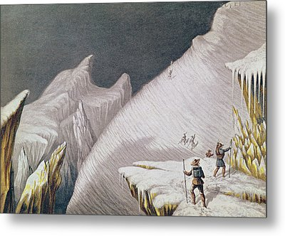 The Arrival At The Summit  The Ascent Of Mont Blanc  Metal Print by George Baxter