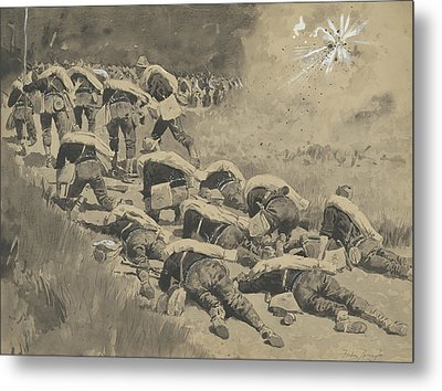 The Artful Dodgers  Shrapnel Coming Down The Road Metal Print by Frederic Remington