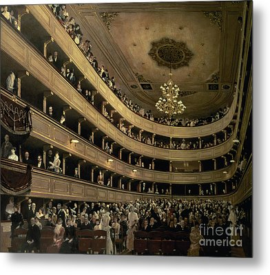 The Auditorium Of The Old Castle Theatre Metal Print by Gustav Klimt