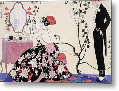 The Backless Dress Metal Print by Georges Barbier