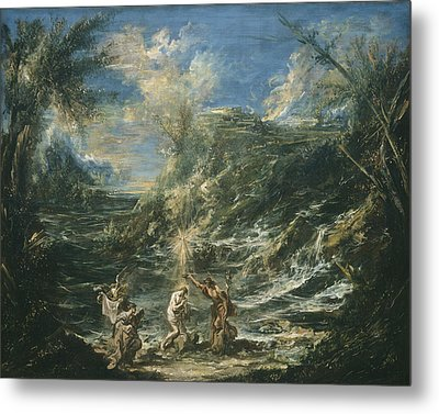 The Baptism Of Christ Metal Print by Alessandro Magnasco