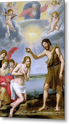 The Baptism Of Christ Metal Print by Ottavio Vannini