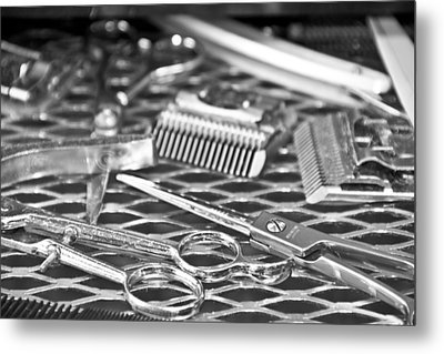 The Barber Shop 10 Bw Metal Print by Angelina Vick