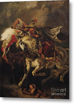 The Battle Of Giaour And Hassan Metal Print by Ferdinand Victor Eugene Delacroix