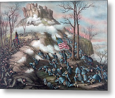 The Battle Of Lookout Mountain Metal Print by American School
