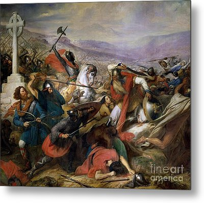 The Battle Of Poitiers Metal Print by Charles Auguste Steuben