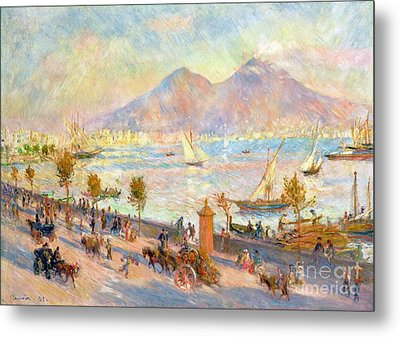 The Bay Of Naples With Vesuvius In The Background Metal Print by Pierre Auguste Renoir
