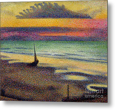 The Beach At Heist Metal Print by Georges Lemmen