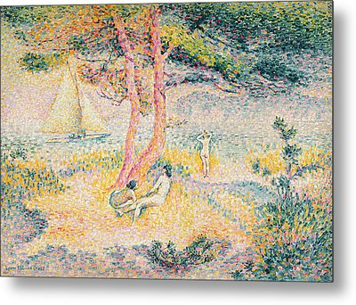 The Beach At St Clair Metal Print by Henri-Edmond Cross
