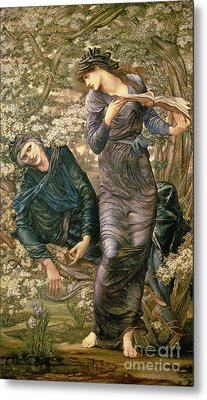 The Beguiling Of Merlin Metal Print by Sir Edward Burne-Jones