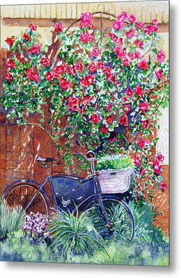 The Bike At Bistro Jeanty Napa Valley Metal Print by Gail Chandler