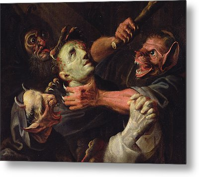 The Blessed Guillaume De Toulouse Tormented By Demons Metal Print by Ambroise Fredeau