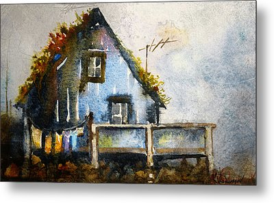The Blue House Metal Print by Kristina Vardazaryan