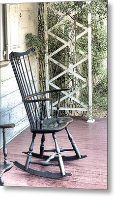 The Blue Rocking Chair  Metal Print by Olivier Le Queinec