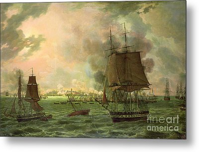 The Bombing Of Cadiz By The French  Metal Print by Louis Philippe Crepin