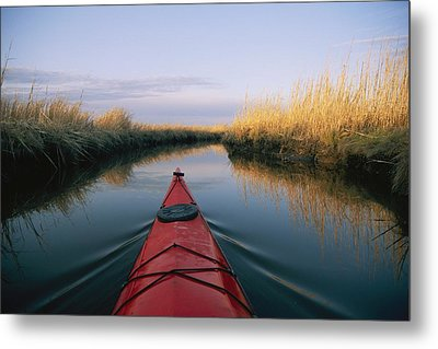 The Bow Of A Kayak Points The Way Metal Print by Skip Brown