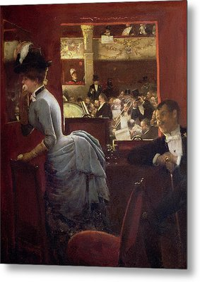 The Box By The Stalls Metal Print by Jean Beraud