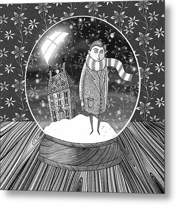 The Boy In The Snow Globe  Metal Print by Andrew Hitchen